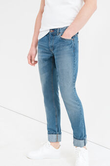Slim-fit, used-effect jeans with zip, Medium Wash, hi-res