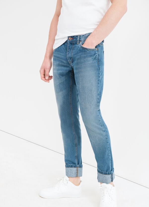 Slim-fit, used-effect jeans with zip | OVS