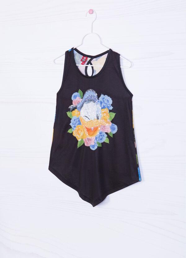Donald Duck print vest top with sequins | OVS