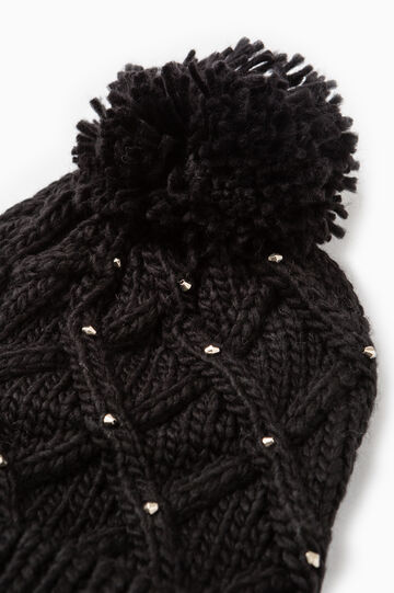 Beanie cap with beads, Black, hi-res