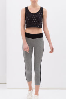 Three-quarter leggings in stretch cotton with side bands, Black/Grey, hi-res