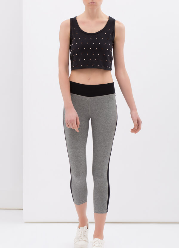 Three-quarter leggings in stretch cotton with side bands | OVS