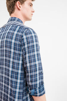 G&H casual tartan shirt in cotton, Blue, hi-res