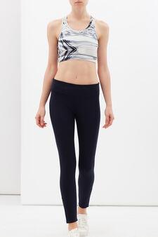 Leggings sportivi stretch con zip, Blu scuro, hi-res