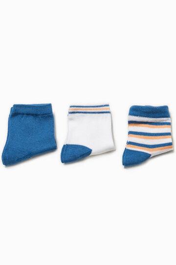 Set tre paia di calze corte unito e rigato, Bianco/Blu/Arancione, hi-res