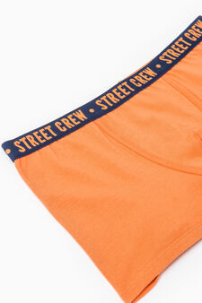 Cotton boxers with embroidered lettering, Orange, hi-res