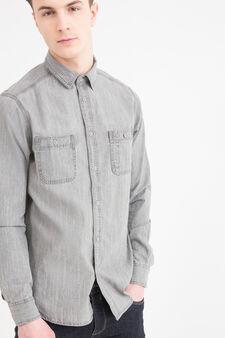 Camicia di jeans colletto classico, Grigio, hi-res