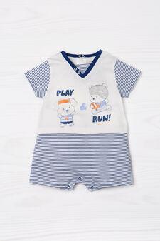 Striped short onesie in 100% cotton, White/Blue, hi-res