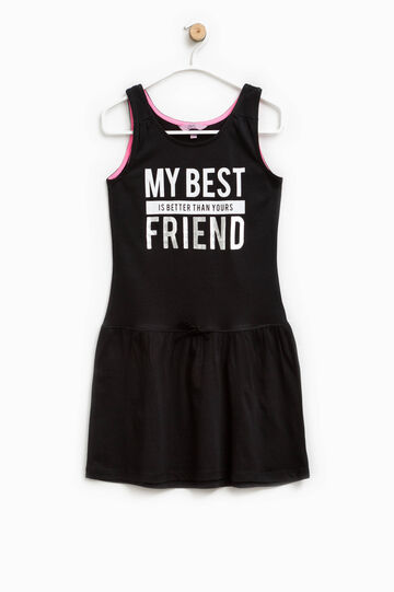 Sleeveless dress with lettering print