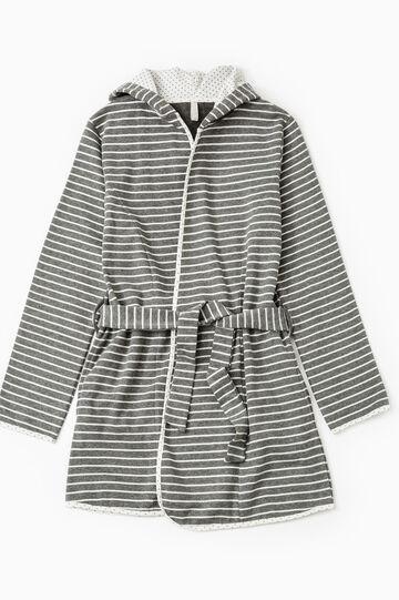 Cotton blend striped robe, White/Grey, hi-res