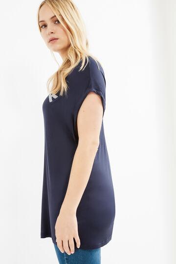 Curvy solid colour T-shirt with diamantés, Blue, hi-res