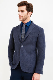 Wool blend Rumford jacket with pattern, Blue, hi-res