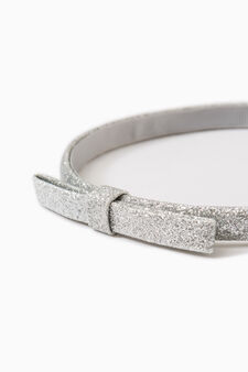 Glitter hairband with bow, Grey/Silver, hi-res