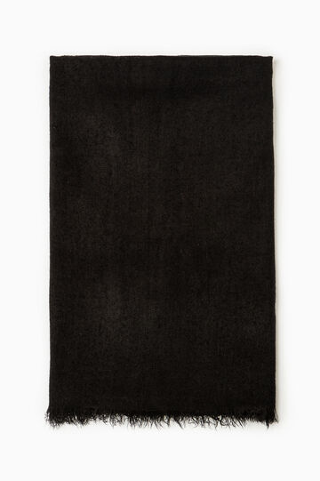 Solid colour scarf with fringed edging, Black, hi-res