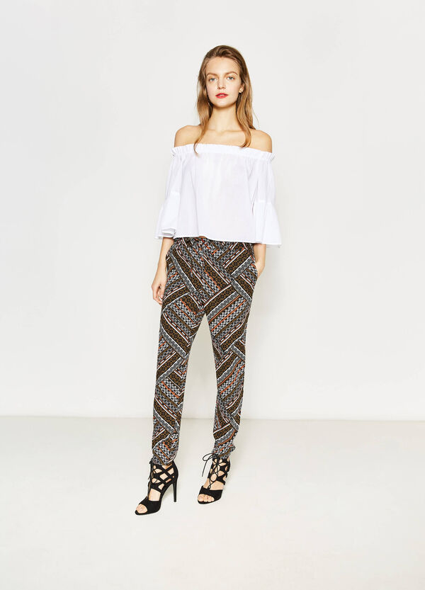 Viscose trousers with ethnic print | OVS
