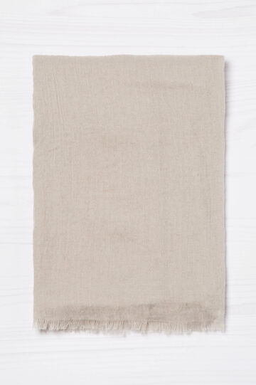 Solid colour fringed scarf, Chalk White, hi-res