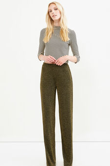 Pantaloni palazzo lurex micro fantasia, Giallo oro, hi-res
