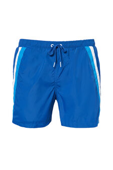 Solid colour swim boxer shorts with bands, Navy Blue, hi-res