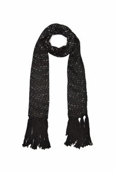 Knitted scarf with inserts, Black, hi-res