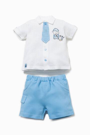 Completo con cravatta micro quadri, Bianco/Azzurro, hi-res