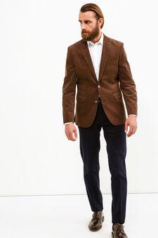 Elegant 100% cotton jacket with lapels, Brown, hi-res