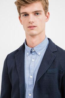 Cotton blend casual jacket with lapels, Blue, hi-res