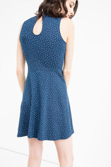 Short sleeveless stretch cotton dress, Blue, hi-res