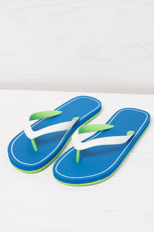 Thong sandals with contrasting colour band., Royal Blue, hi-res