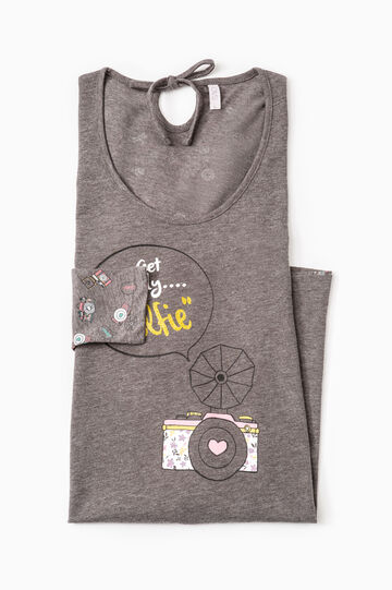 Printed stretch nightshirt, Grey Marl, hi-res