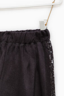 Cotton gym pants with sequins, Black, hi-res