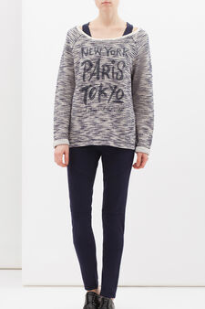 Printed sweatshirt in cotton lurex blend, Navy Blue, hi-res