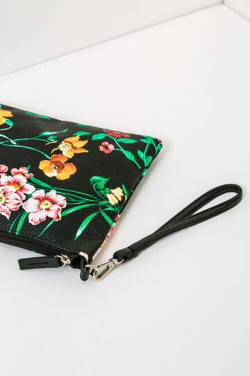Floral pattern clutch bag, Black, hi-res