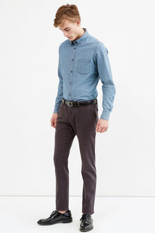 Solid colour stretch chino trousers, Dark Grey, hi-res