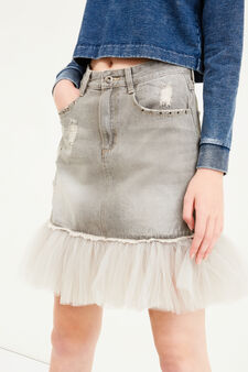 Used-effect denim skirt with tulle, Grey, hi-res