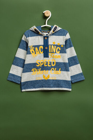 Striped T-shirt with hood, Blue/Grey, hi-res