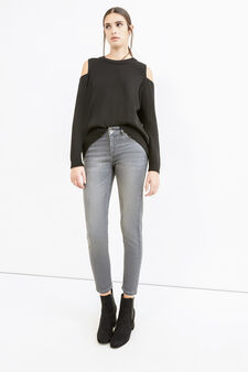 Jeans ankle skinny fit stretch, Grigio, hi-res