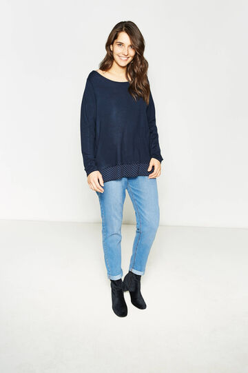 Curvy pullover with polka dot faux layer