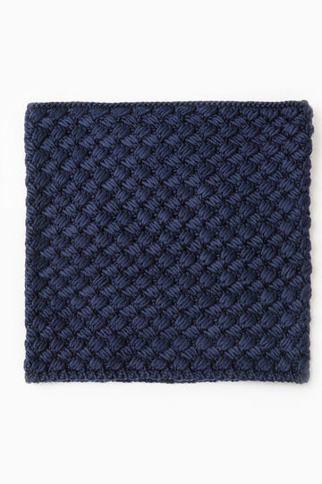 Solid colour knitted neck warmer, Blue, hi-res