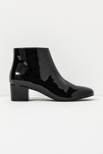 Patent ankle boots with wide heel, Black, hi-res