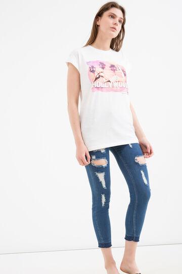 Sleeveless cotton printed T-shirt, Milky White, hi-res