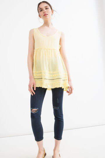 100% viscose top with round neck, Yellow, hi-res