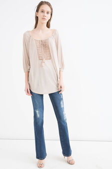 Wide necked T-shirt in 100% viscose, Sand, hi-res