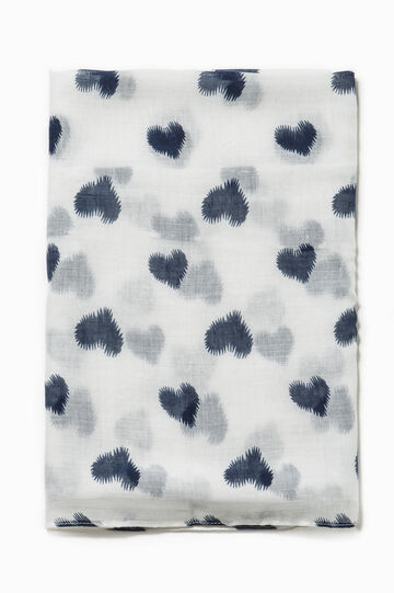 Heart patterned scarf, White/Blue, hi-res
