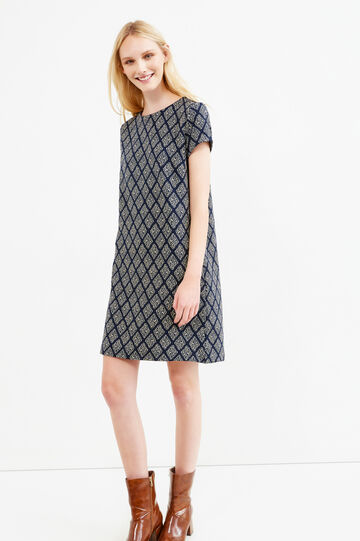 Stretch dress with lurex and short sleeves, Blue, hi-res
