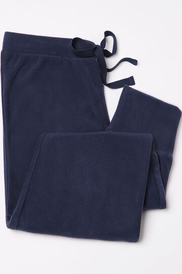 Pyjama trousers in fleece, Navy Blue, hi-res