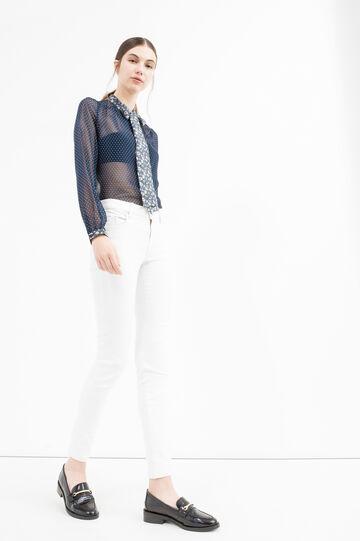 Semi-sheer blouse with polka dot print, Blue, hi-res