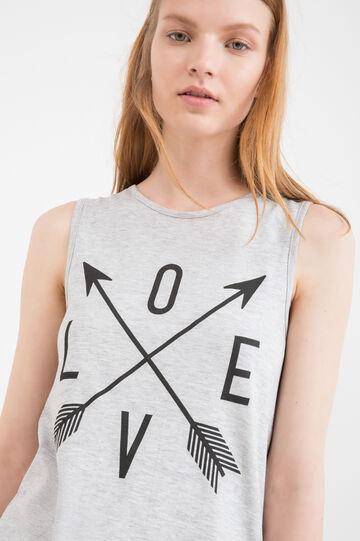 100% cotton printed vest top, Grey Marl, hi-res