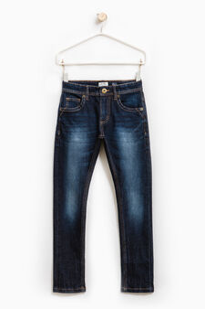 Worn-effect, stretch jeans with whiskering, Dark Blue, hi-res