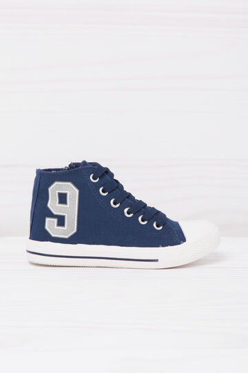 High-top sneakers with contrasting print., Blue, hi-res