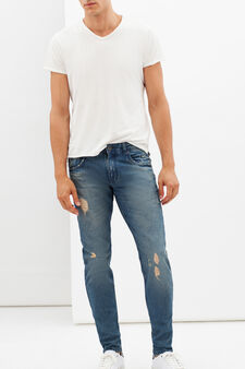 Slim fit jeans with whiskering, Medium Wash, hi-res
